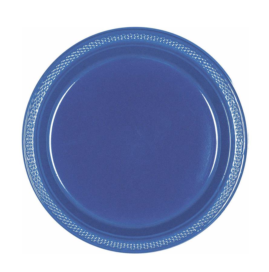 """Bright Royal Blue Plastic Plates, 7"""""""