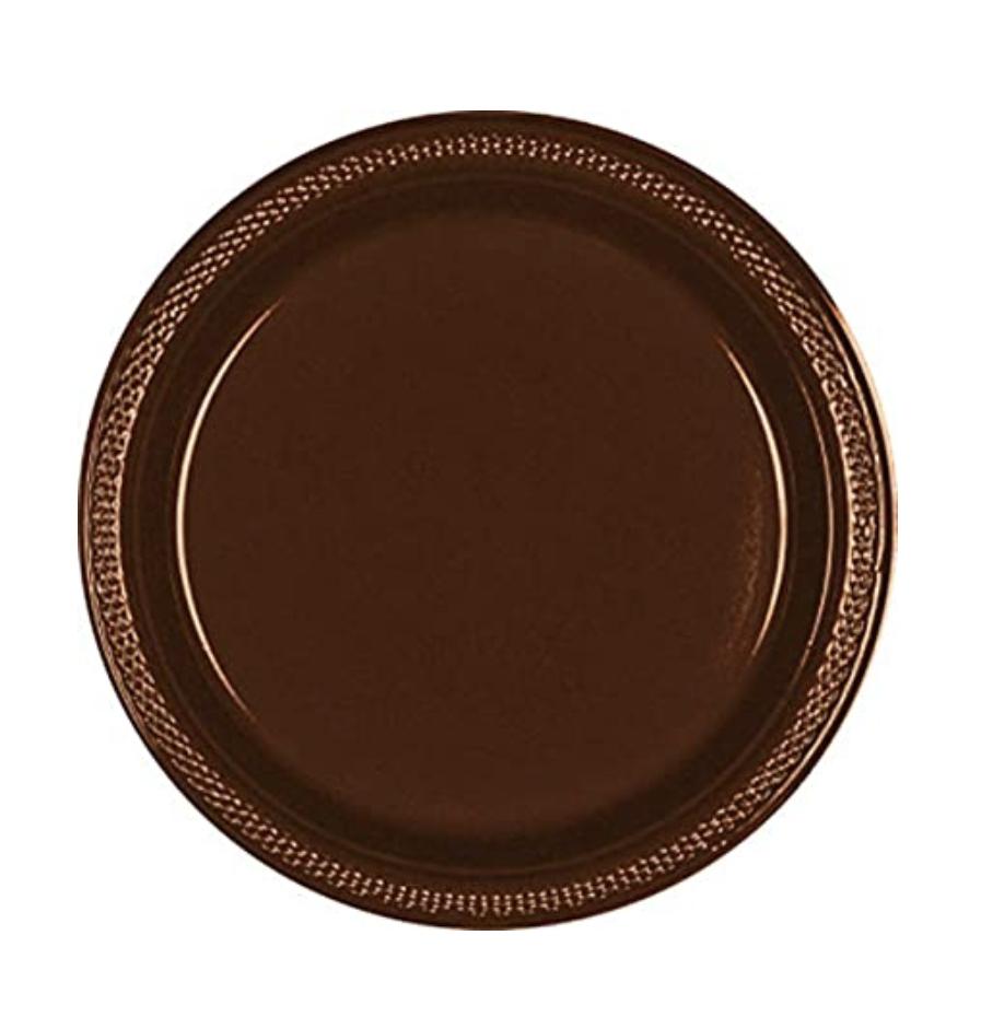 "Chocolate Brown Plastic Plates, 7"""