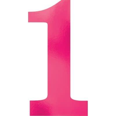 Metallic Pink Number 1 Cutouts 6ct