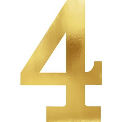 Metallic Gold Number 4 Cutouts 6ct