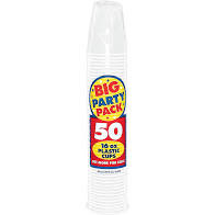 Big Party 16 Oz. Plastic Cups (50 Count)- White