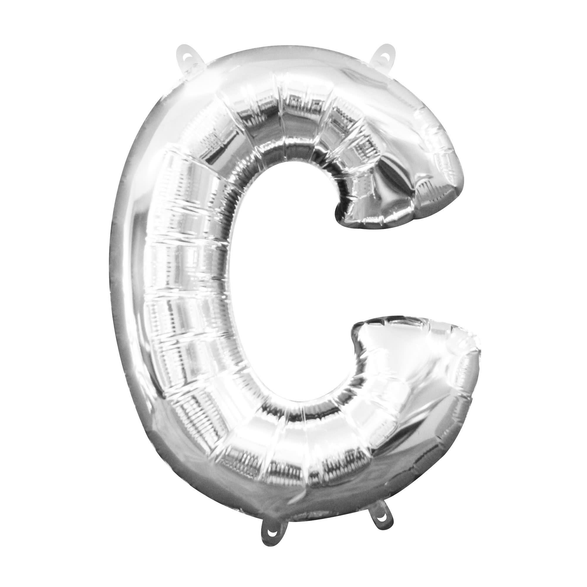 """Silver Letter """"C"""" Mylar Air-Filled Balloon - 16"""""""