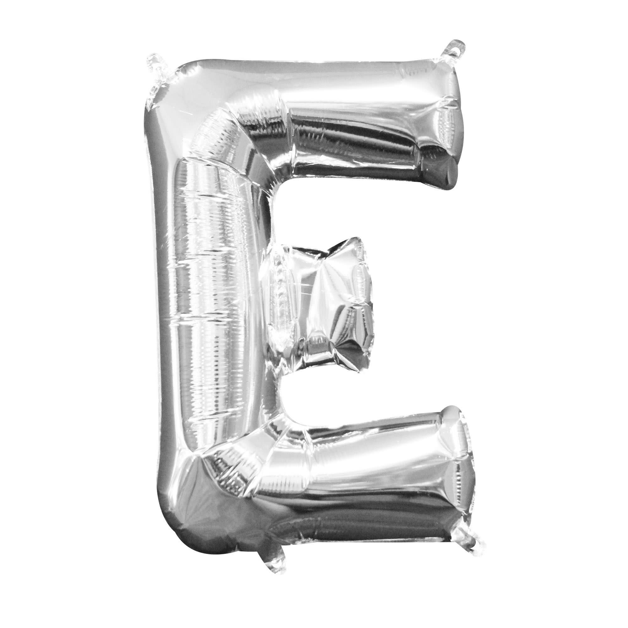 """Silver Letter """"E"""" Mylar Air-Filled Balloon - 16"""""""