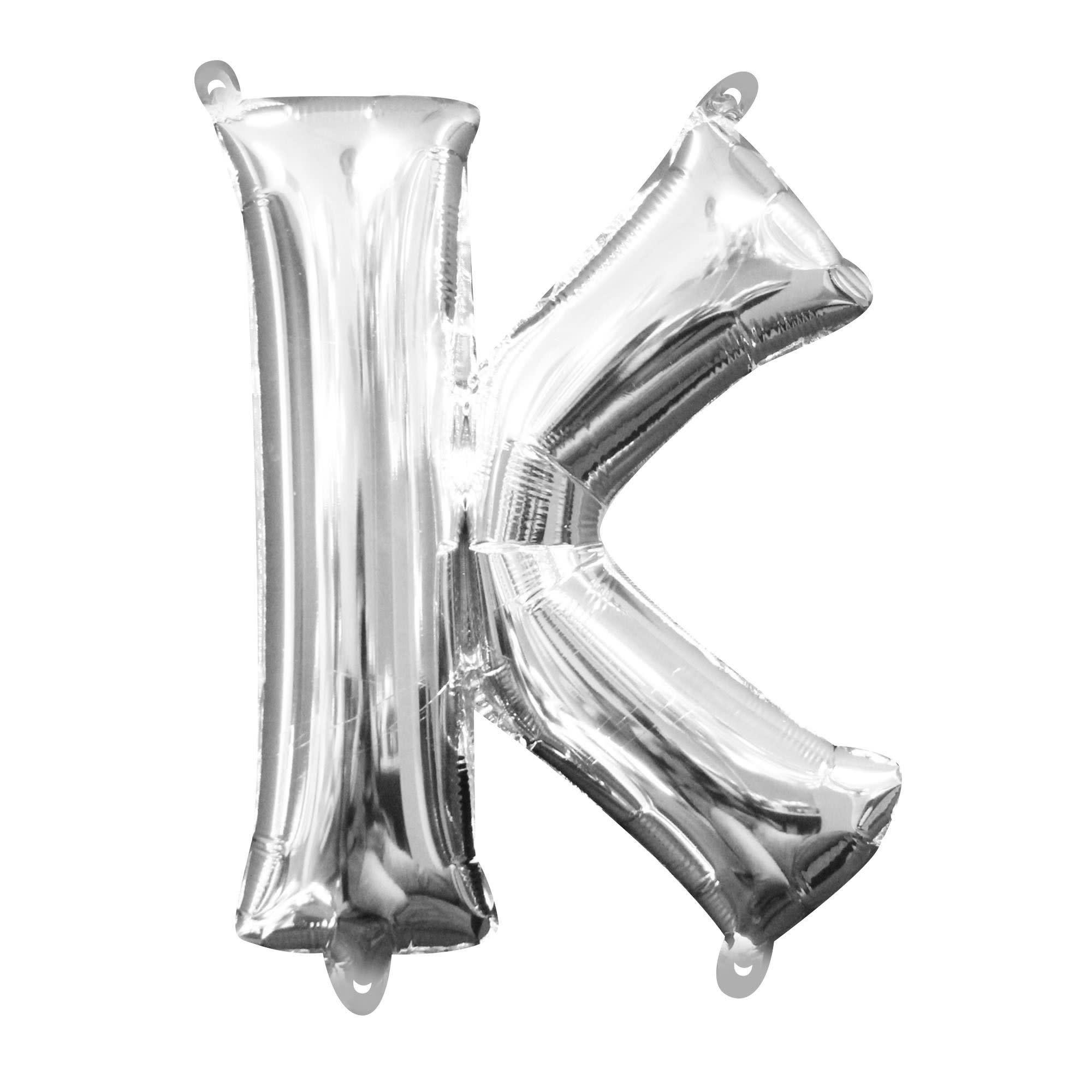 "Silver Letter ""K"" Mylar Air-FIlled Balloon - 16"""