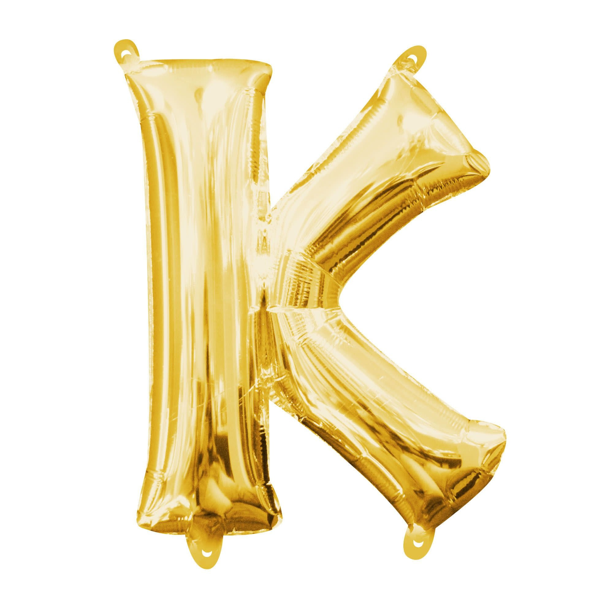 "Gold Letter ""K"" Mylar Air-Filled Balloon - 16"""