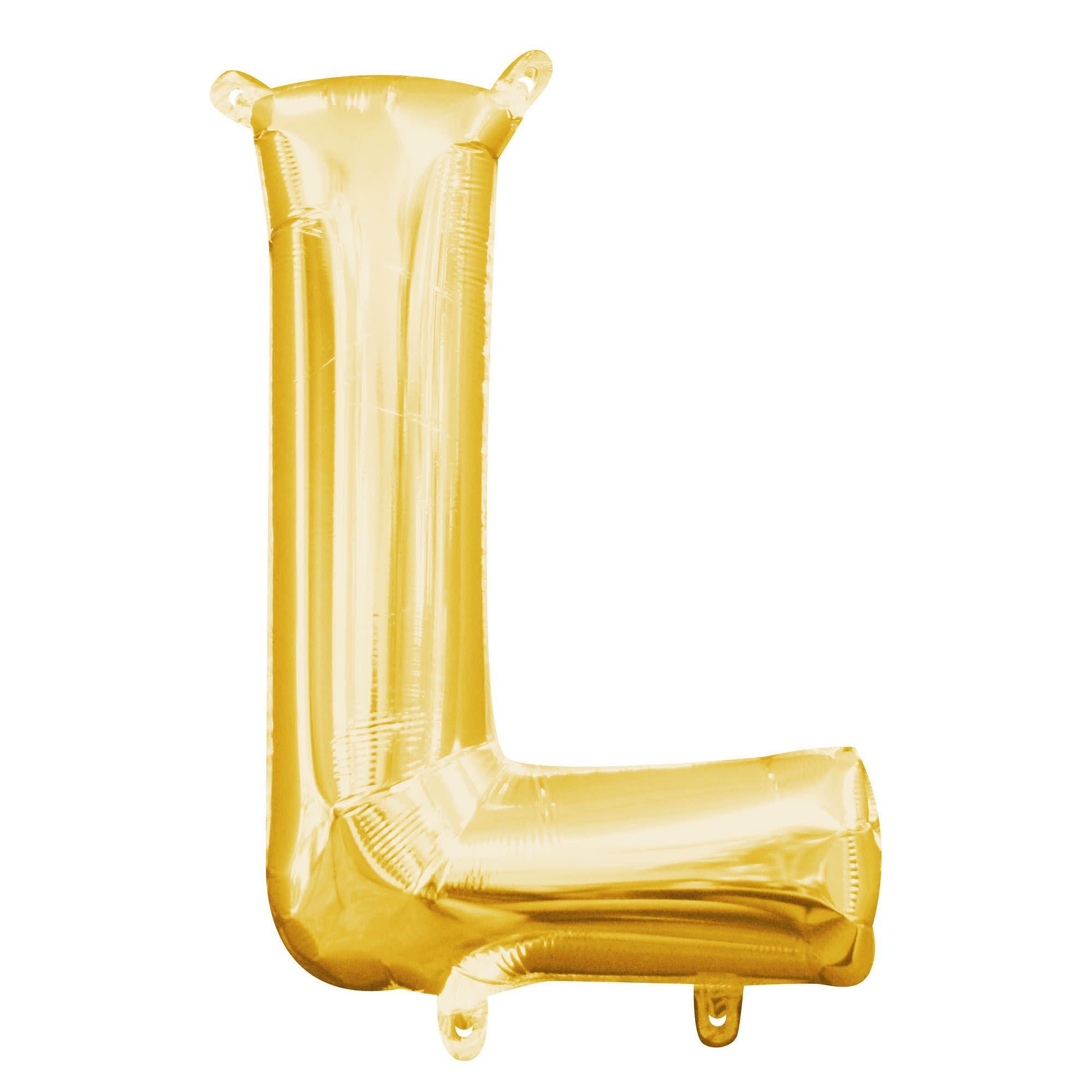 """Gold Letter """"L"""" Mylar Air-Filled Balloon - 16"""""""