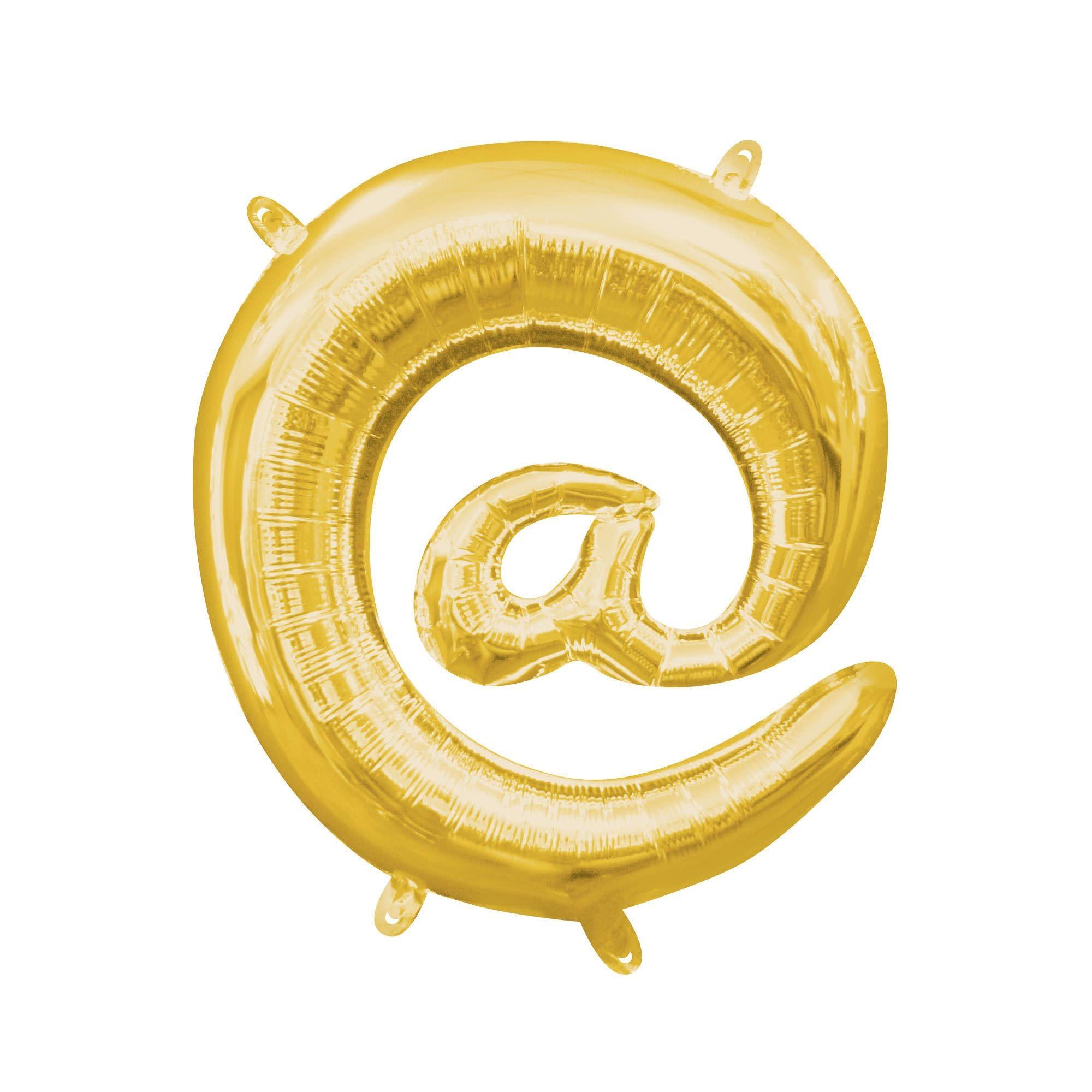 "Gold Symbol ""@"" Mylar Air-Filled Balloon - 16"""