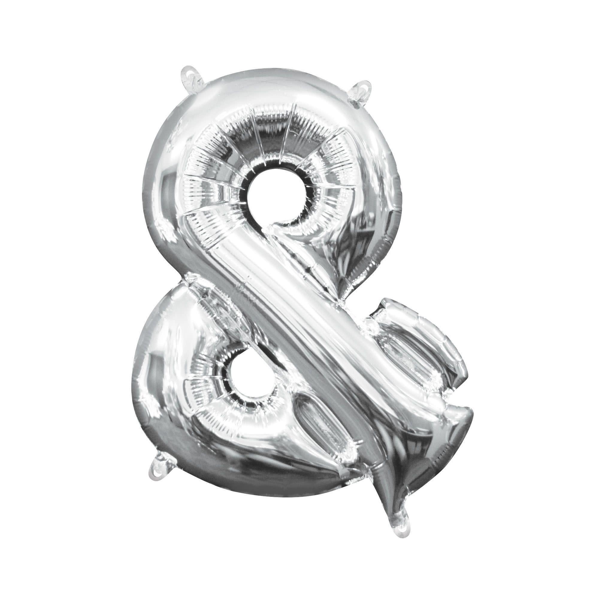 "Silver Symbol ""&"" Mylar Air-Filled Balloon - 16"""