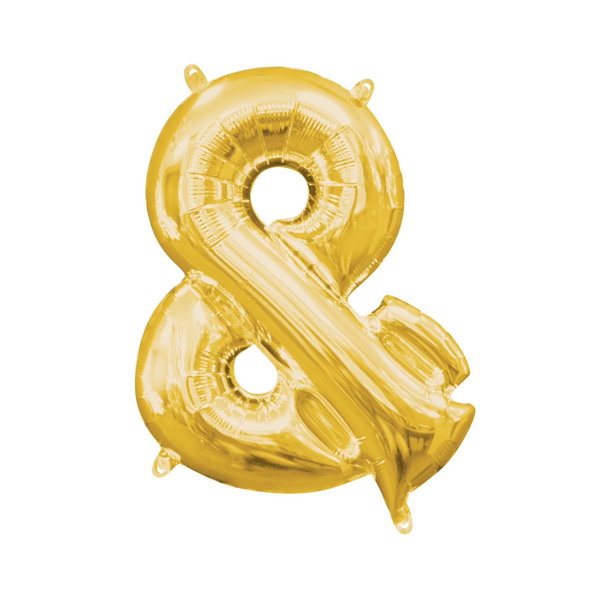 "Gold Symbol ""&"" Mylar Air-Filled Balloon - 16"""