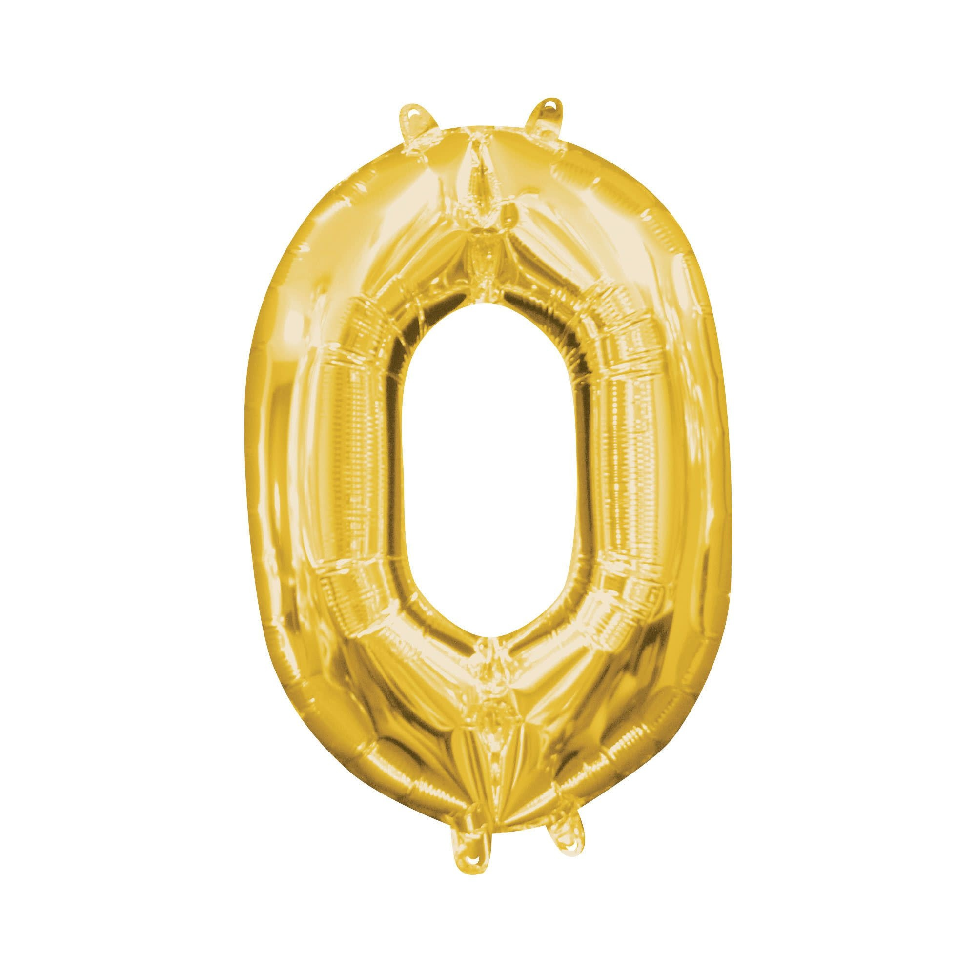 """Gold Number """"0"""" Mylar Air-Filled Balloon - 16"""""""