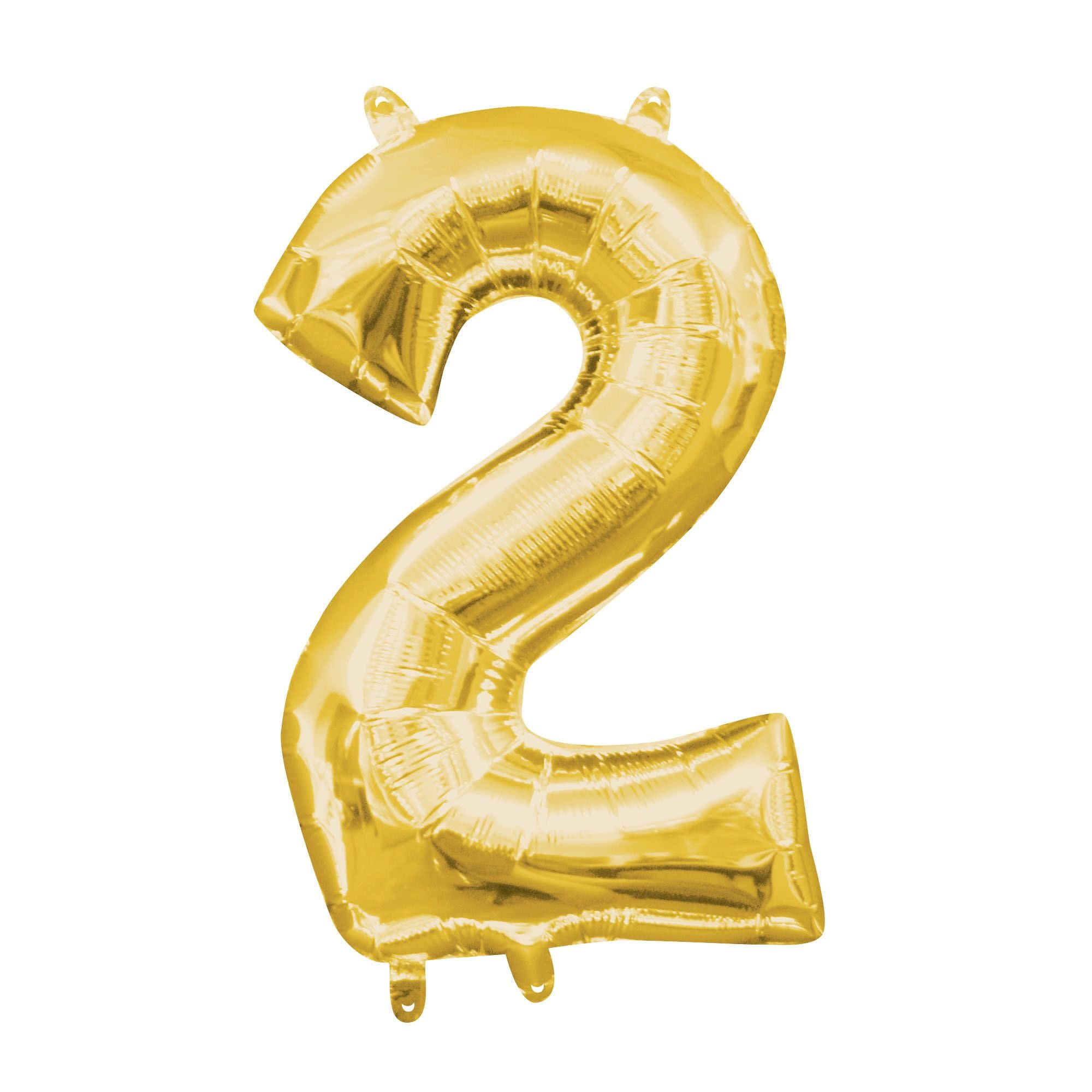 """Gold Number """"2"""" Mylar Air-Filled Balloon - 16"""""""
