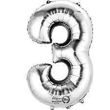 """Silver Number """"3"""" Mylar Air-Filled Balloon - 16"""""""
