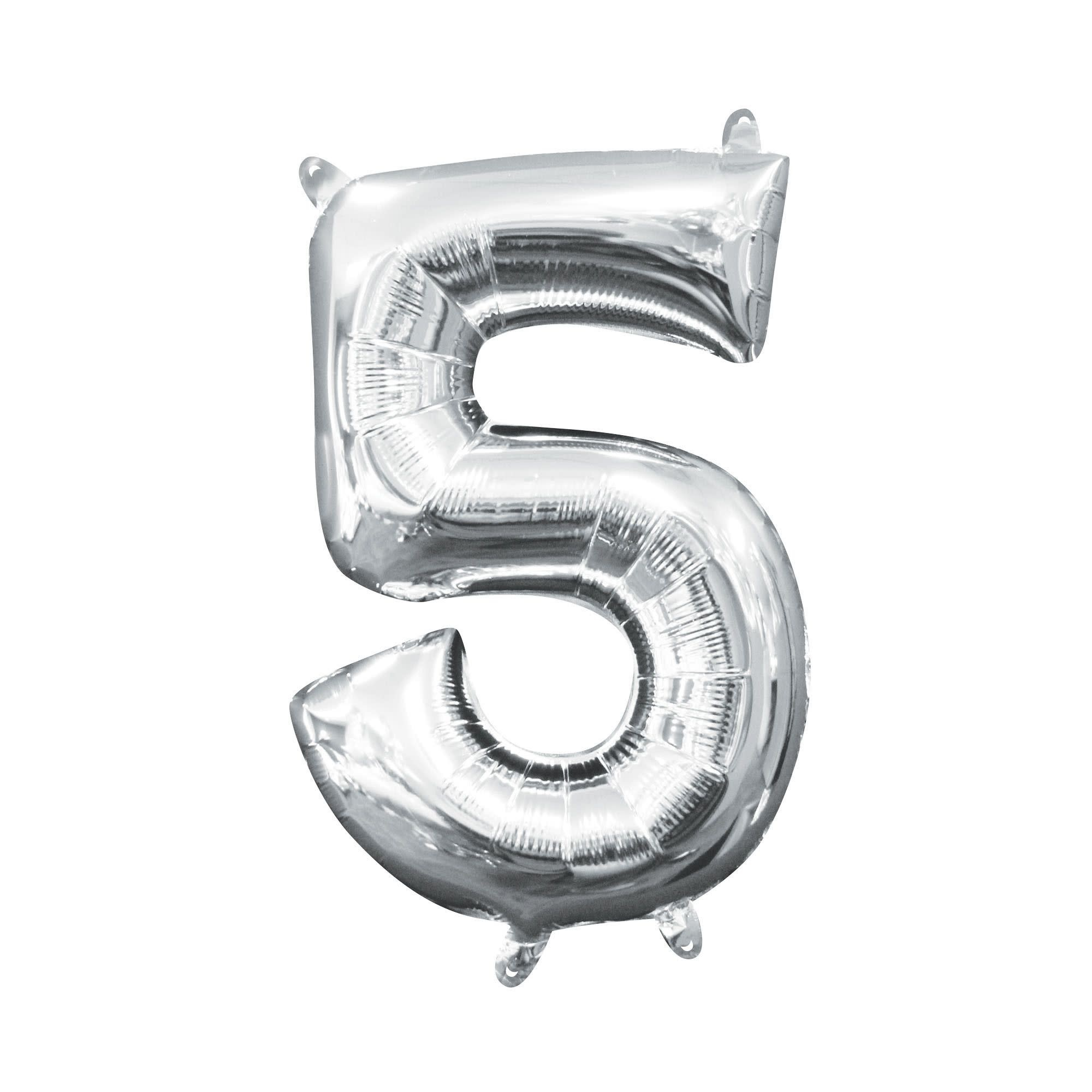 """Silver Number """"5"""" Mylar Air-Filled Balloon - 16"""""""