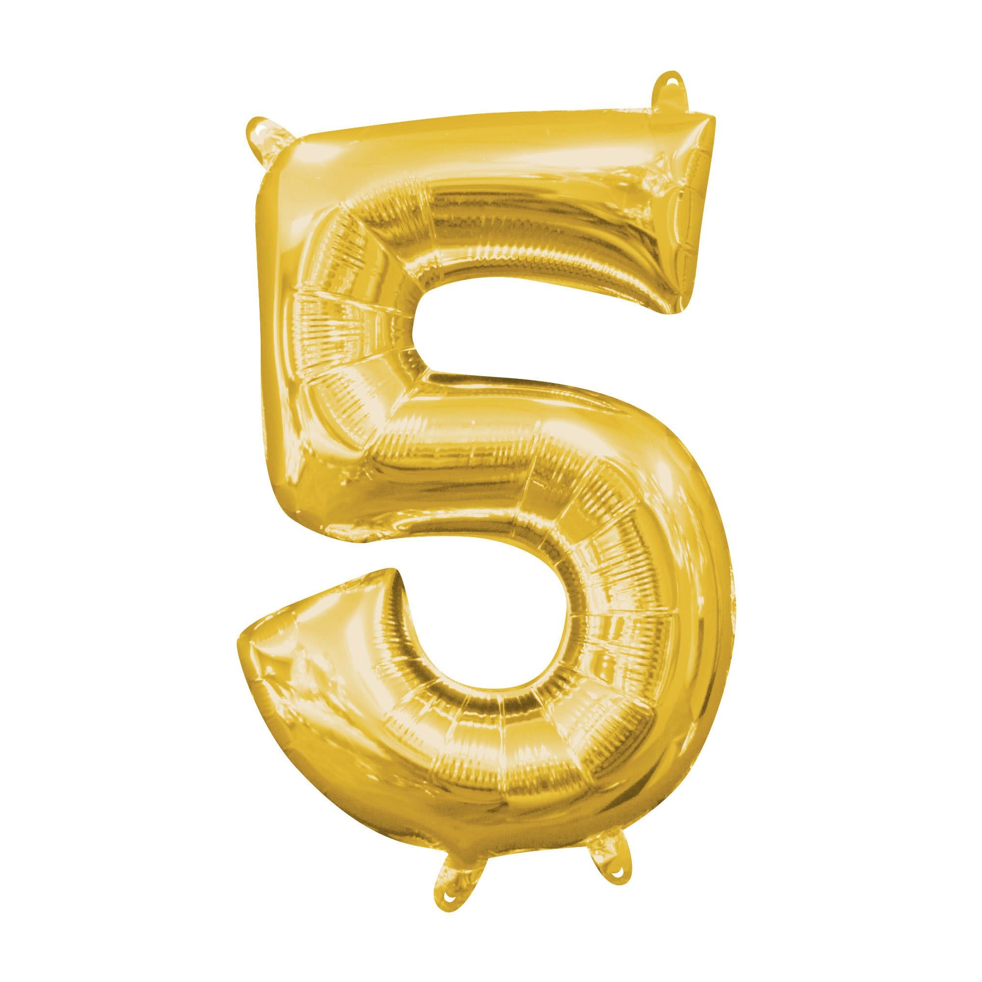 """Gold Number """"5"""" Mylar Air-Filled Balloon - 16"""""""