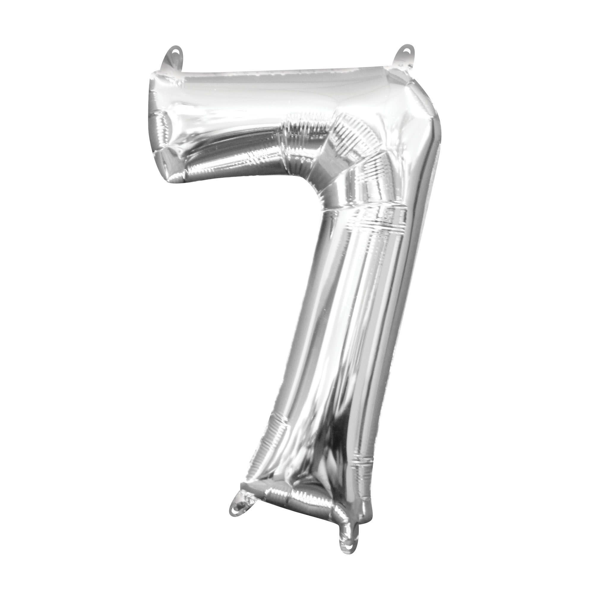 """Silver Number """"7"""" Mylar Air-Filled Balloon - 16"""""""