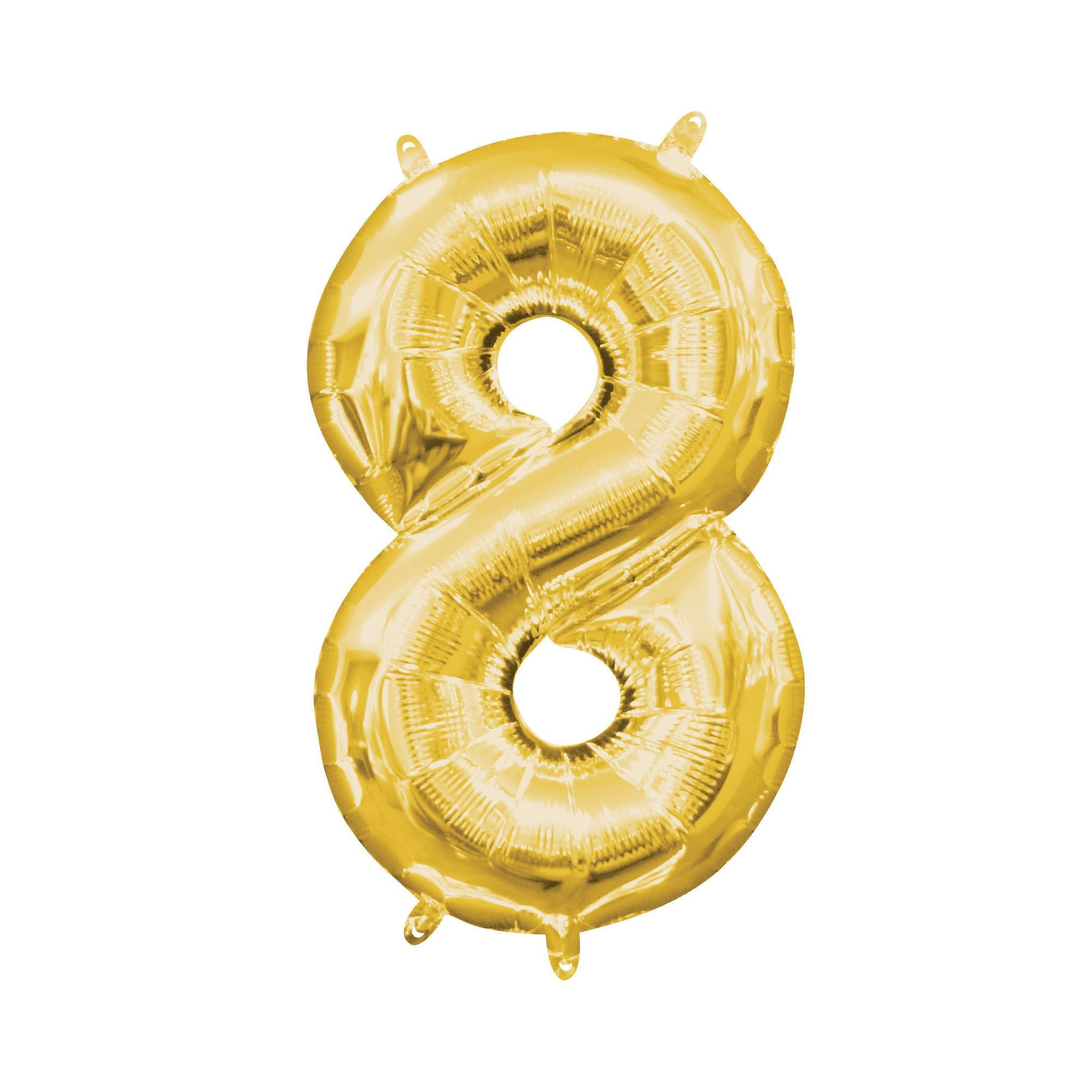 """Gold Number """"8"""" Mylar Air-Filled Balloon - 16"""""""