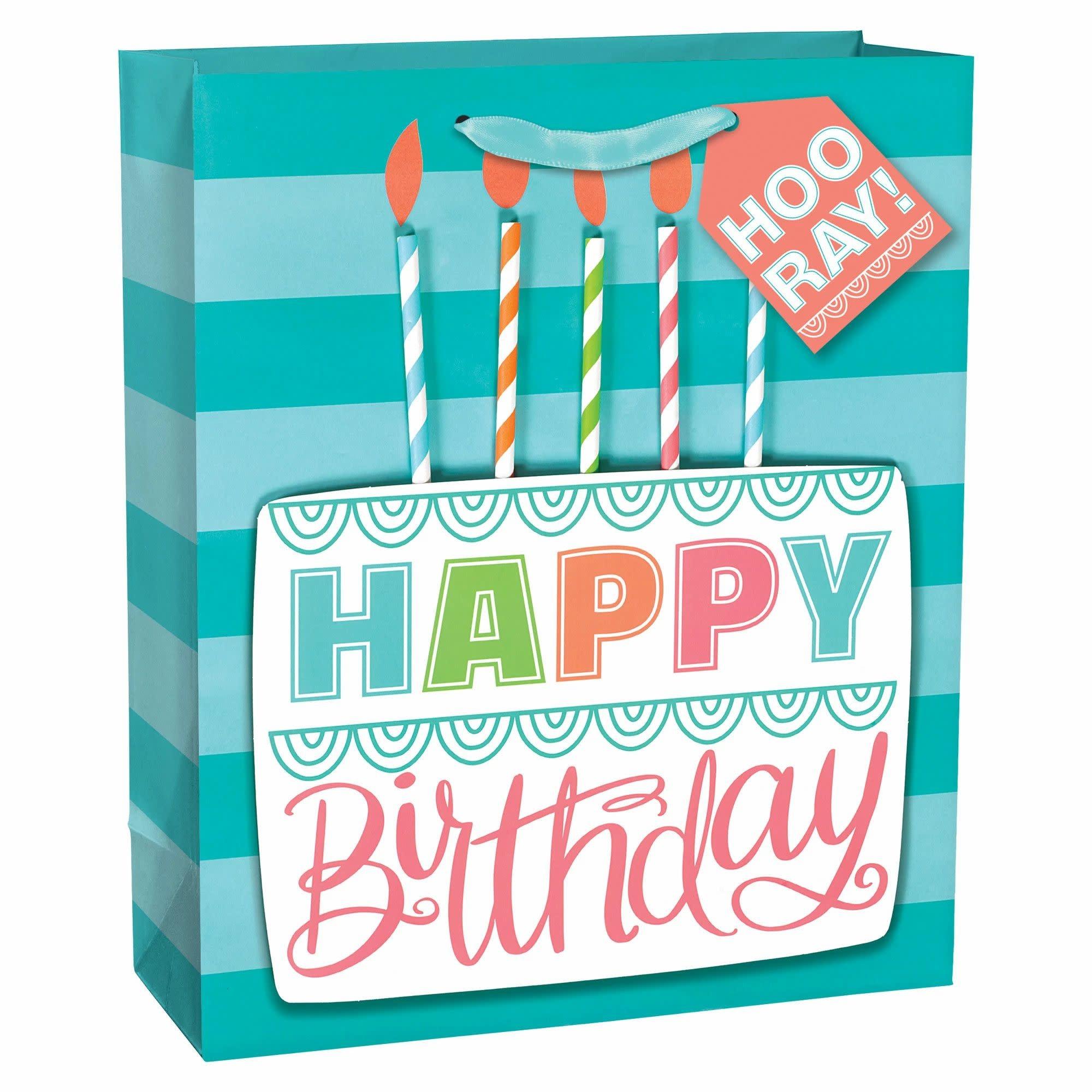 Birthday Cake Large Bag W/Gift Tag