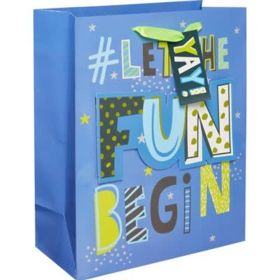 The Fun Begins Large Bag W/Gift Tag