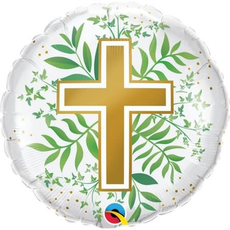 """18"""" Mylar Gold Cross With Greens  - #281"""