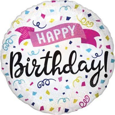 """18"""" Mylar""""Happy Birthday"""" Swirly Confetti - #6"""