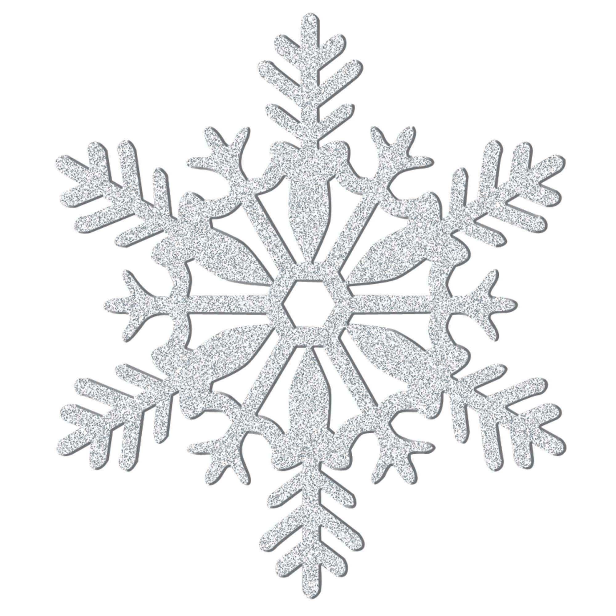 Glitter Plastic Snowflake Decoration - Silver