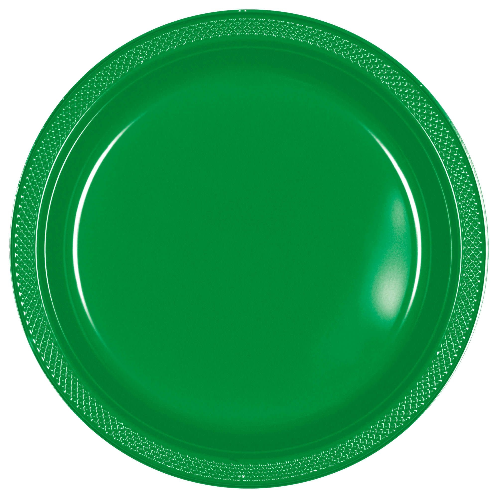 "Festive Green Plastic Plates, 7"""