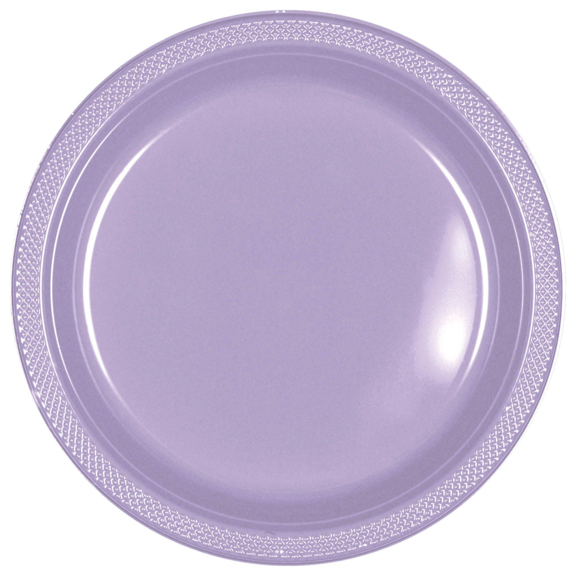 "Lavender Plastic Plates, 7"""