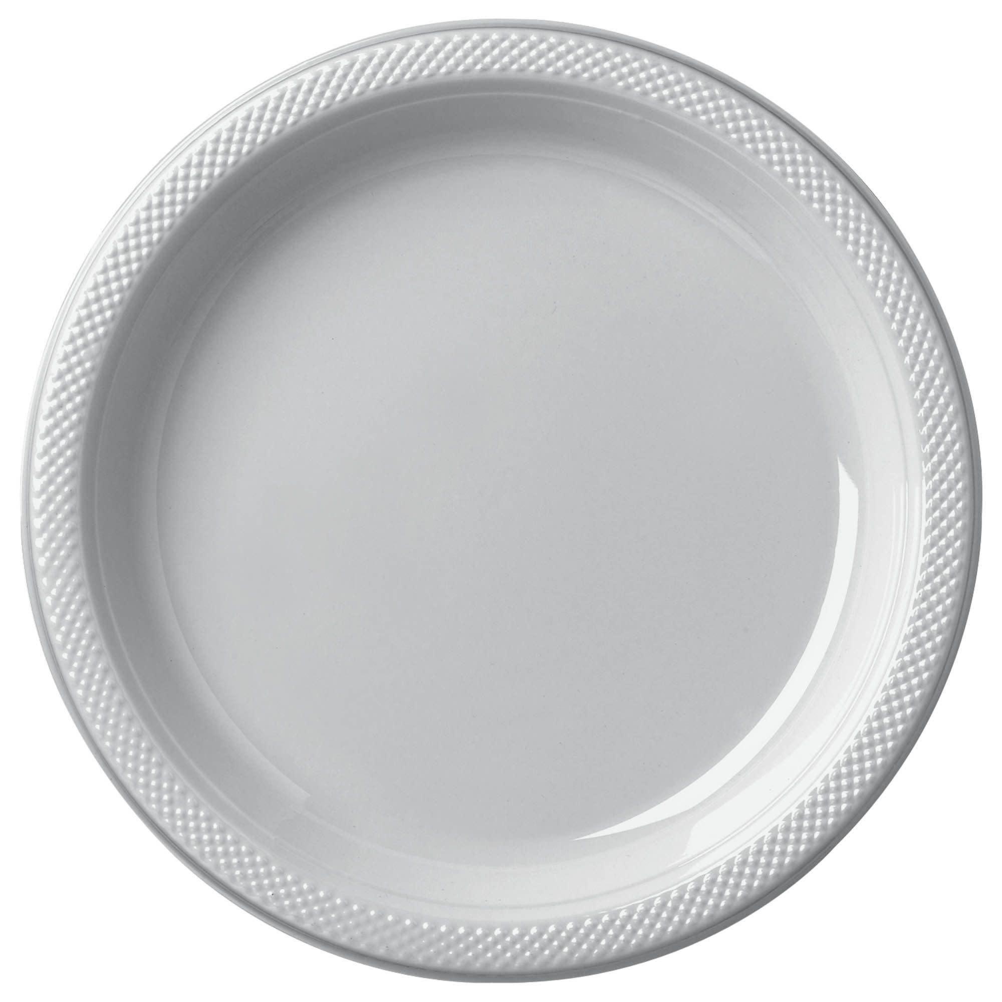 """Silver Sparkle Plastic Plates, 7"""""""