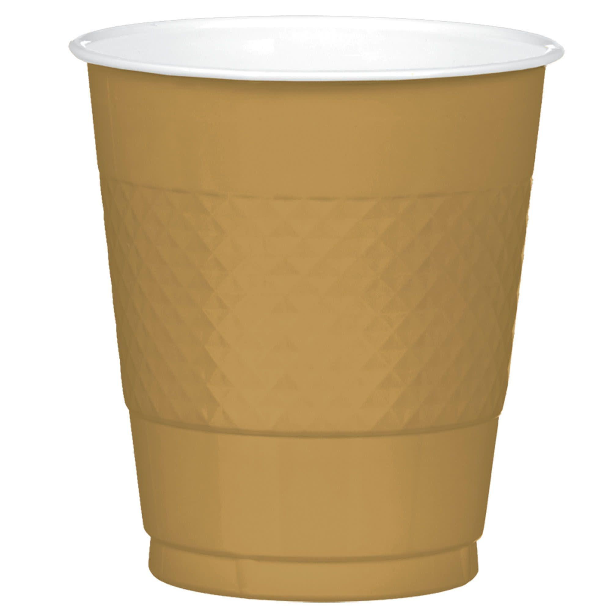 Gold Sparkle Plastic Cups, 12 Oz.
