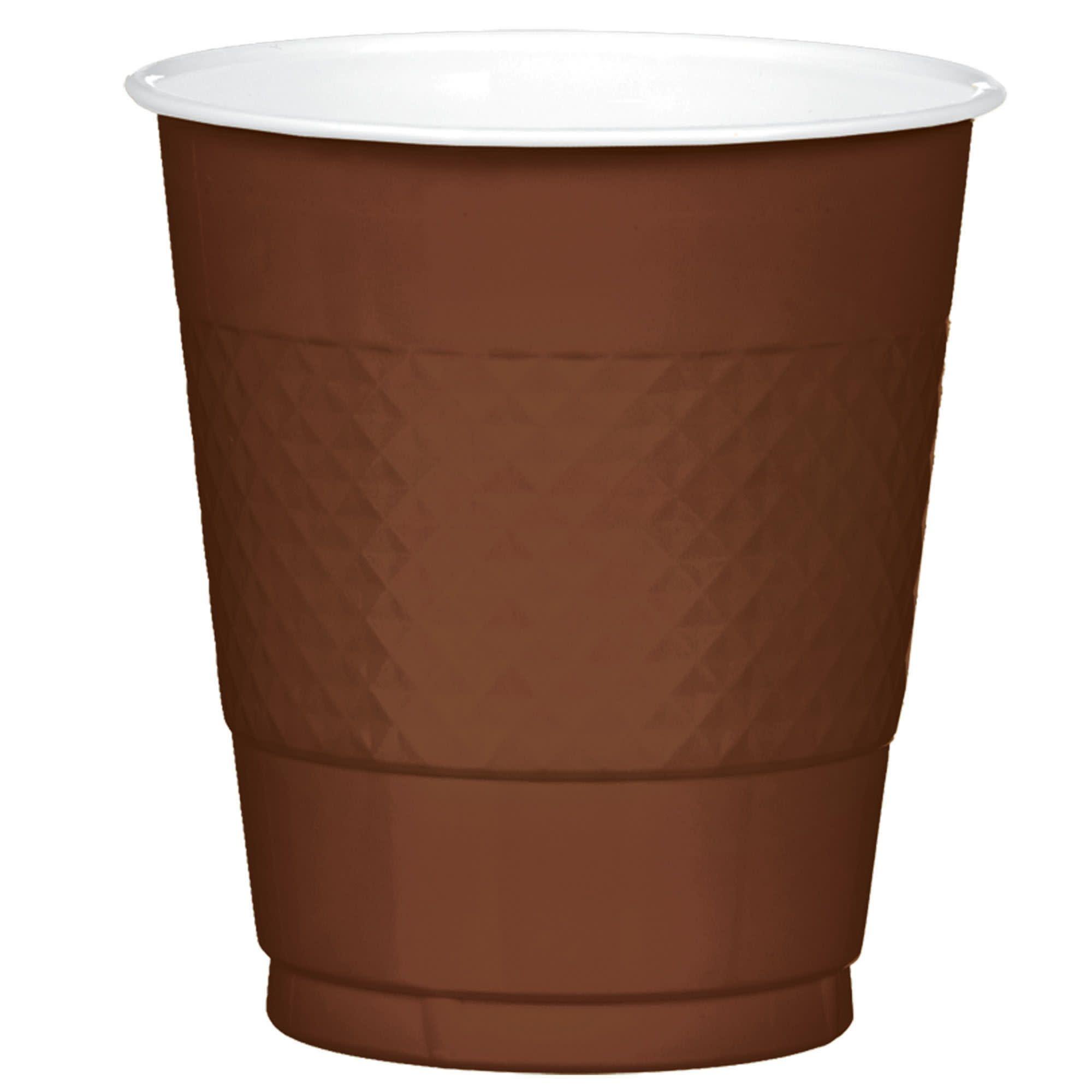 Chocolate Brown Plastic Cups, 12 Oz.