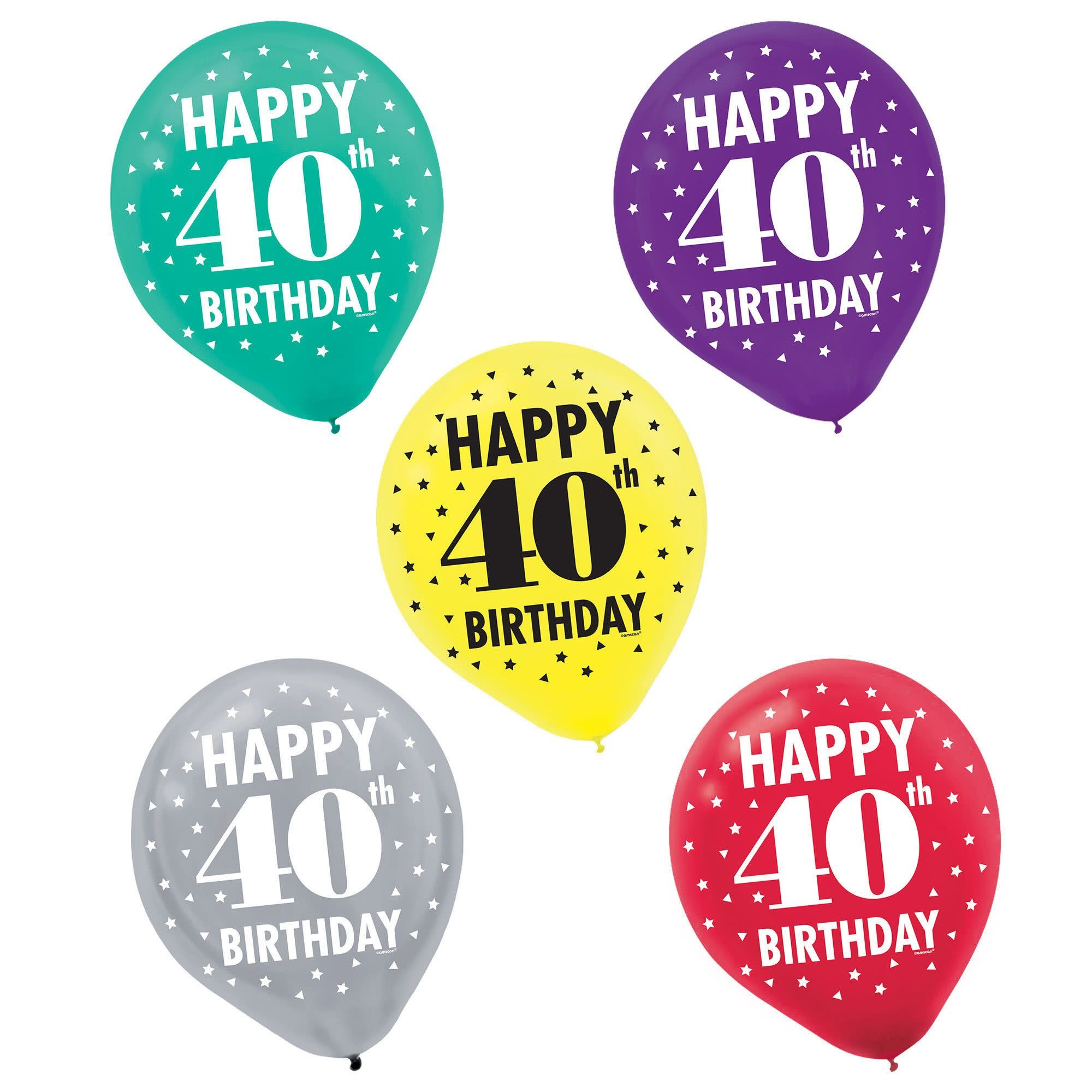 Here's To 40 Latex Balloons- 15 Count (Latex Only)
