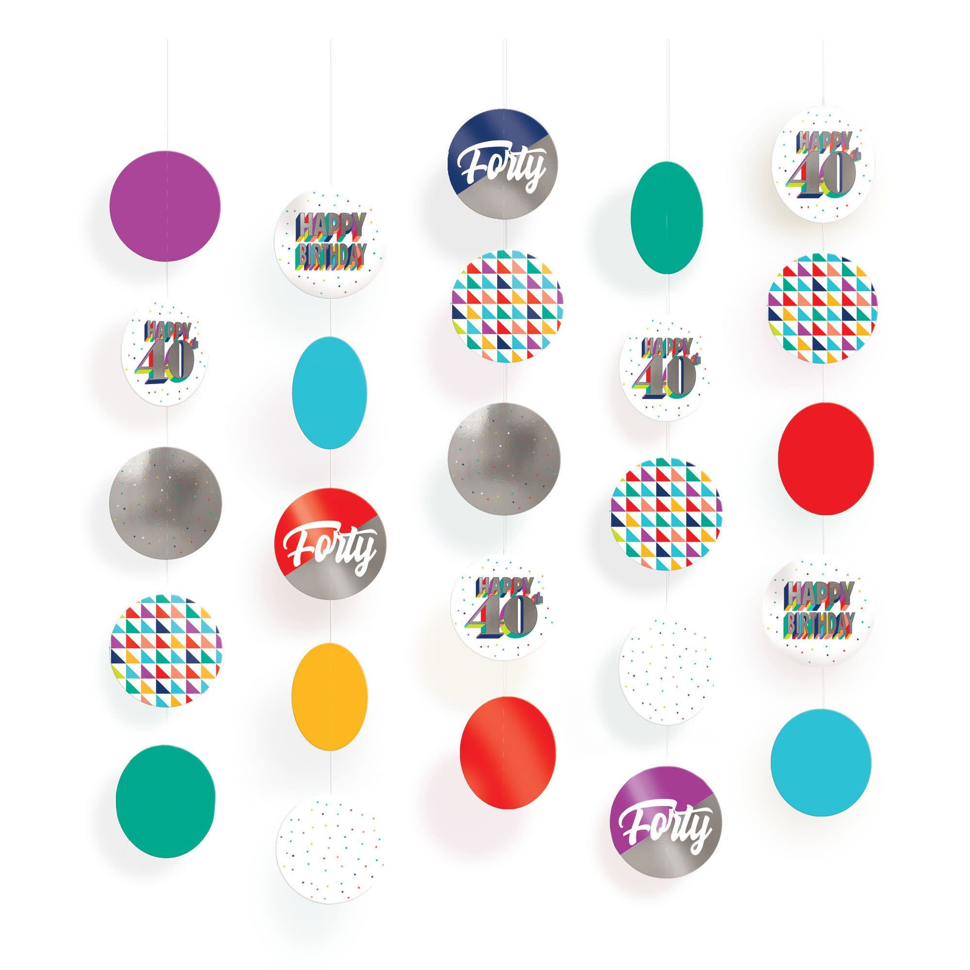 Here's To 40 Hanging Circle Decorations