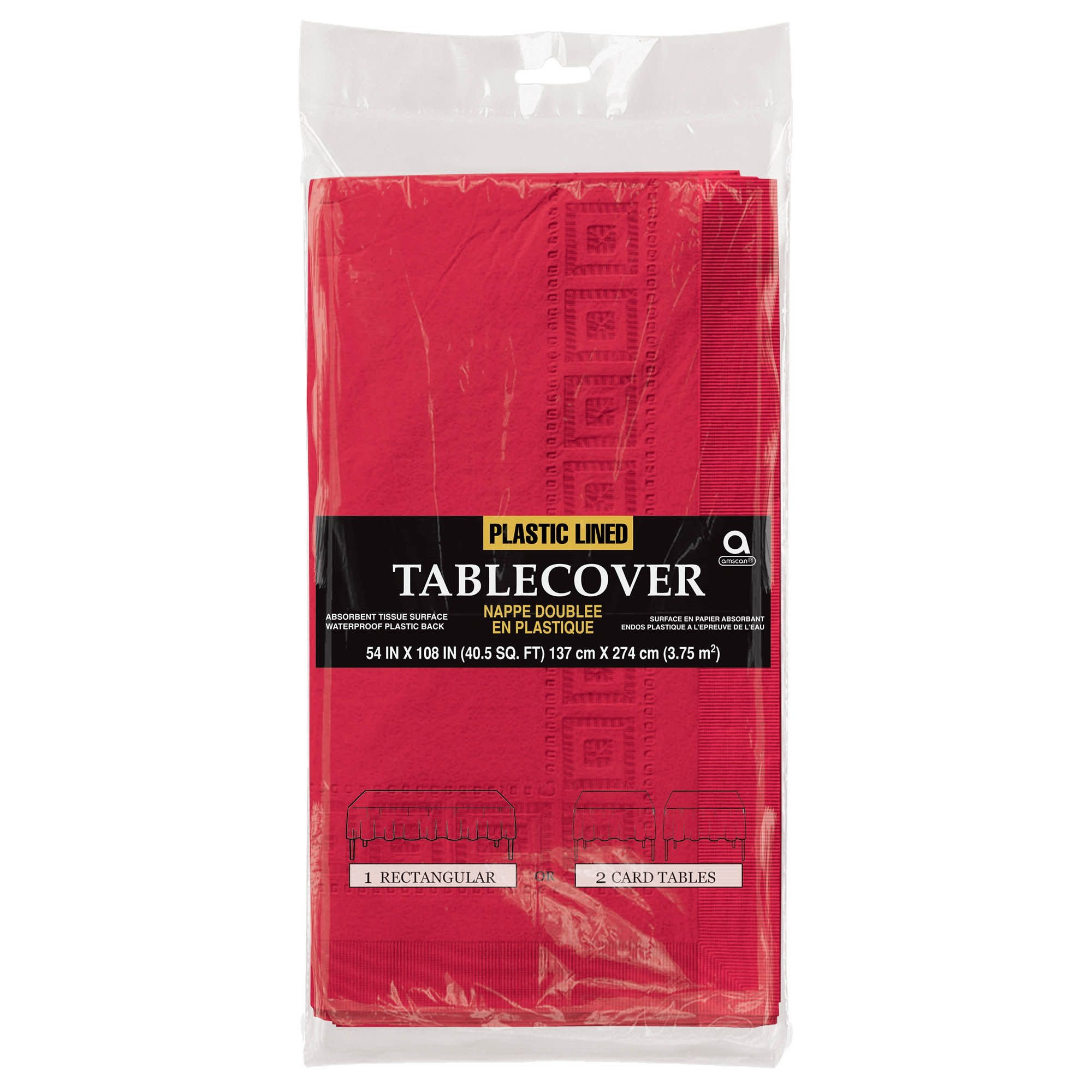 """Apple Red 3-Ply Paper Table Cover, 54"""" X 108"""""""