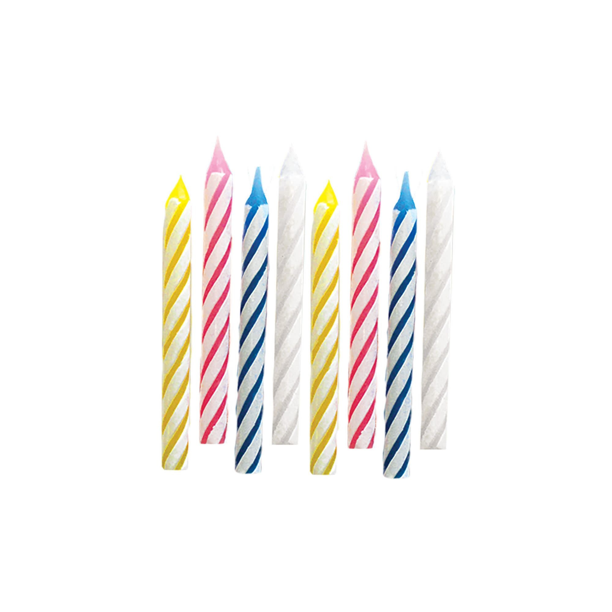 Assorted Candy Stripe Spiral Candles