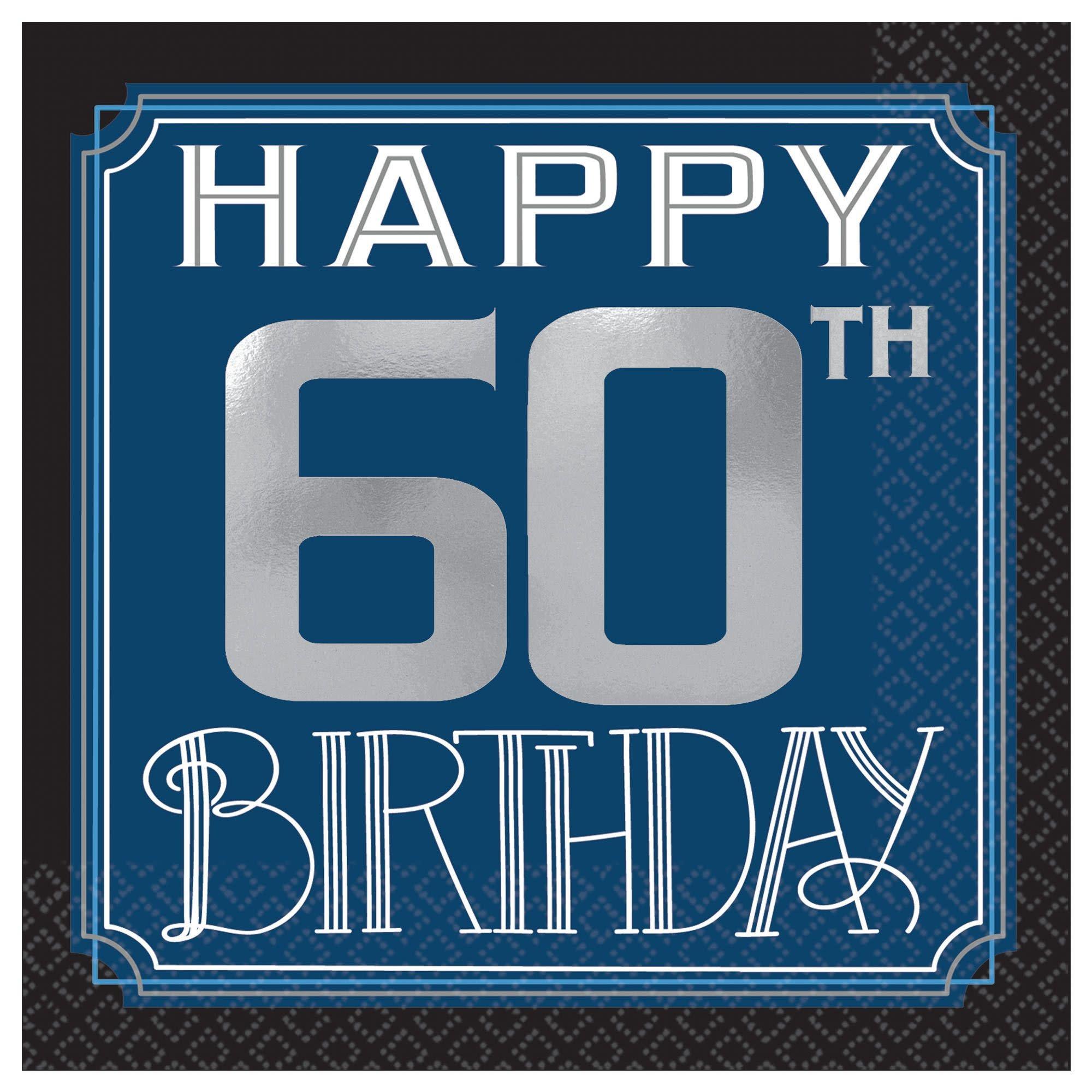 Happy Birthday Man Hot-Stamped Beverage Napkins - 60th