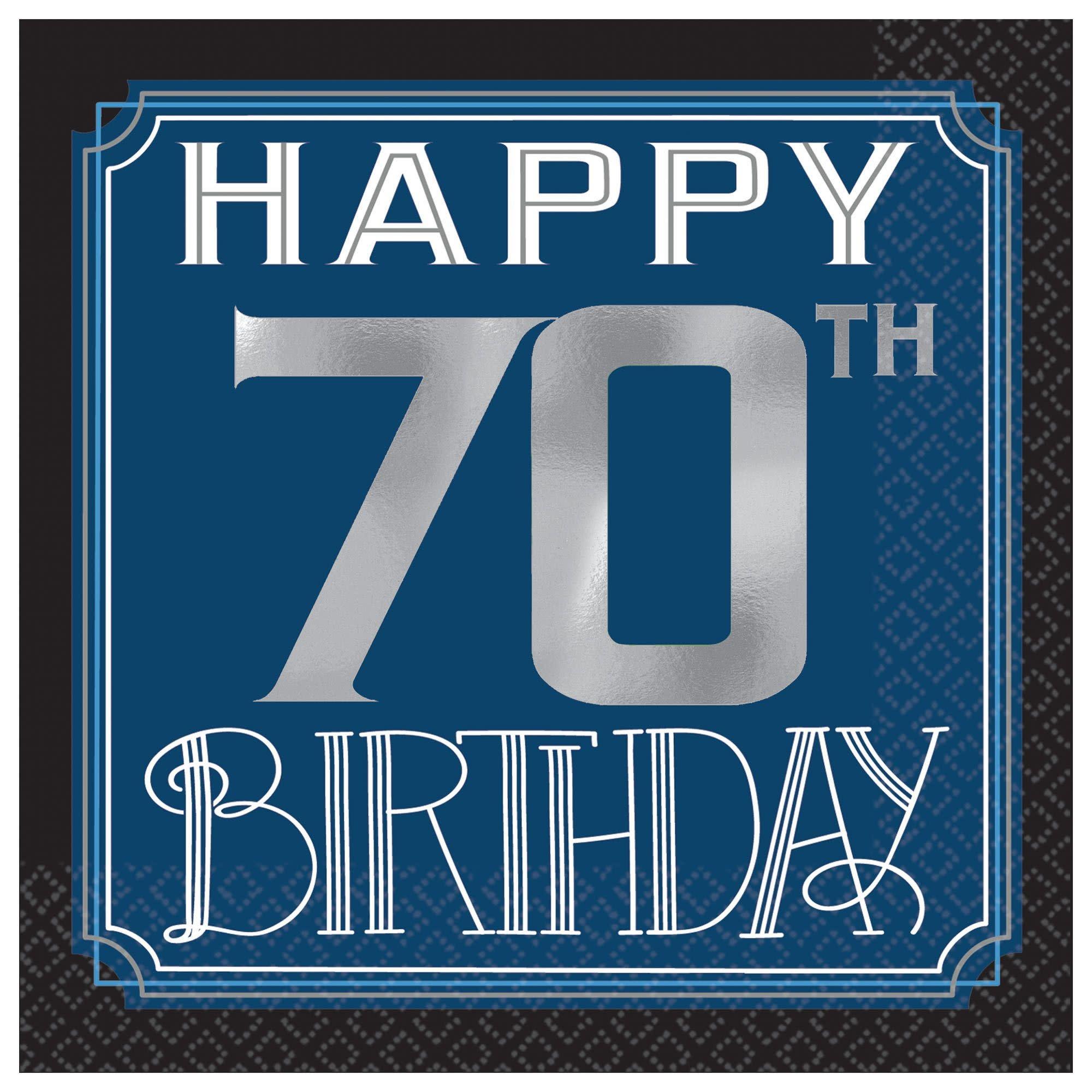 Happy Birthday Man Hot-Stamped Beverage Napkins - 70th