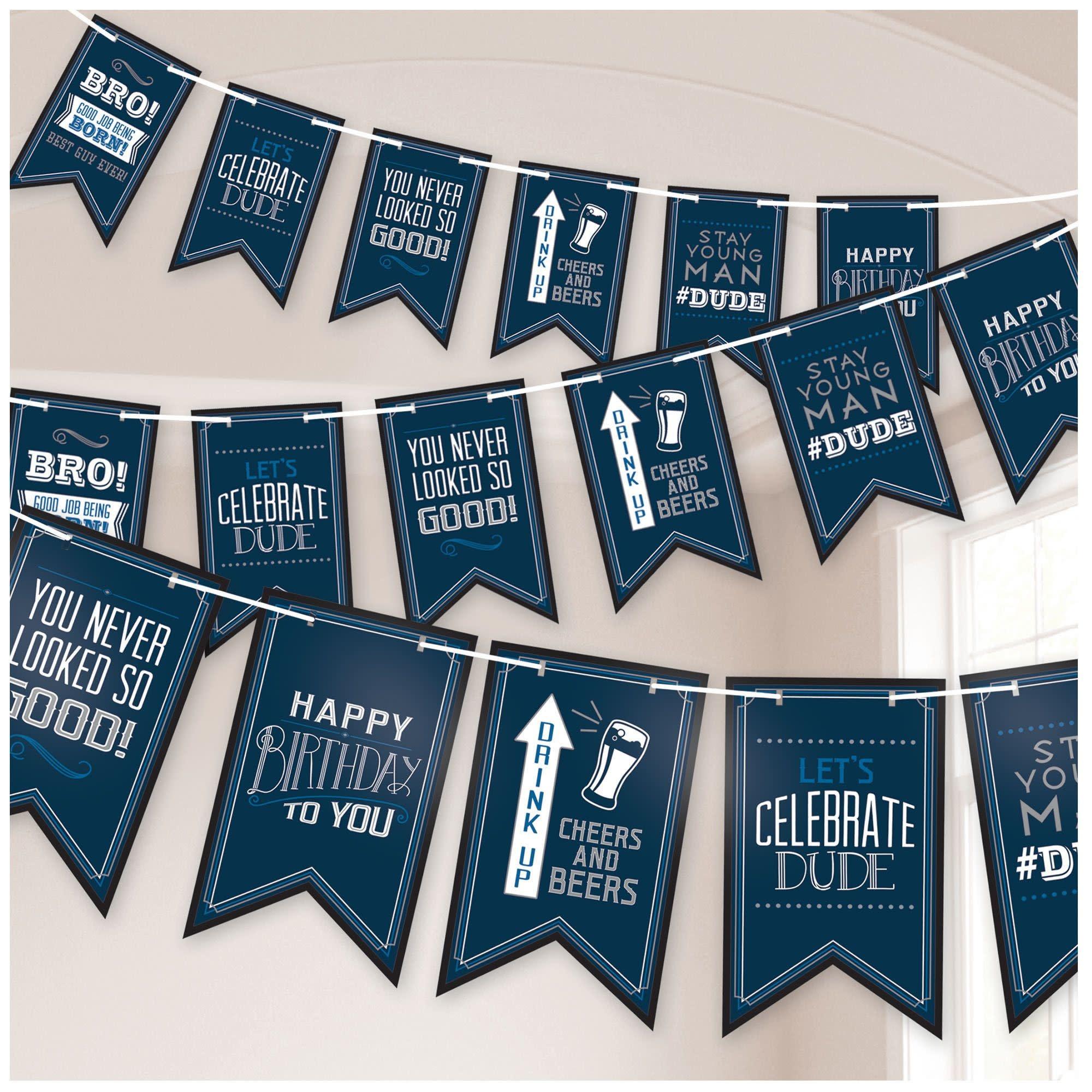 Happy Birthday Man Pennant Banner