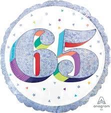 "18"" Mylar Balloon ""65"" Sparkling Birthday-#90"