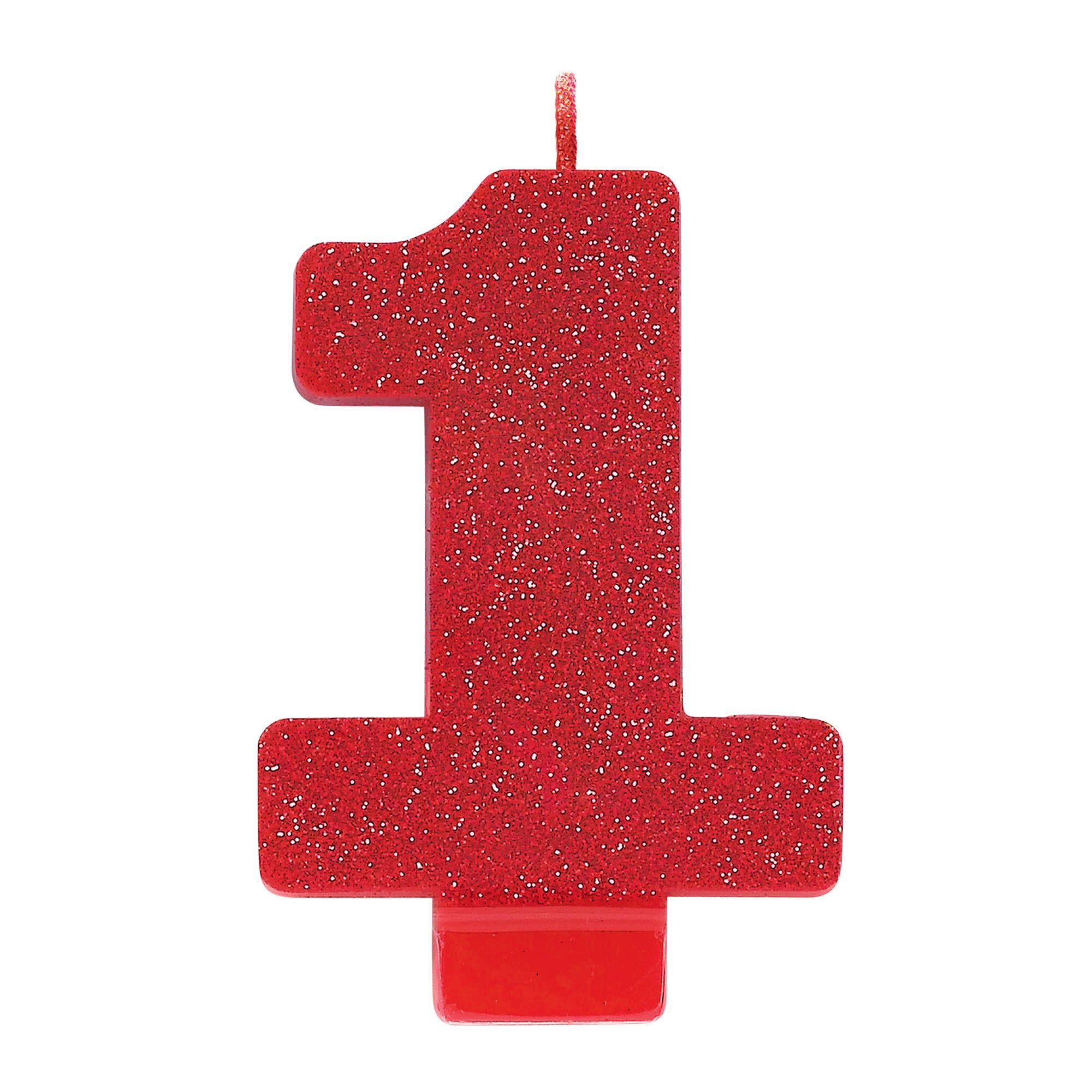 Numeral #1 Glitter Candle - Red