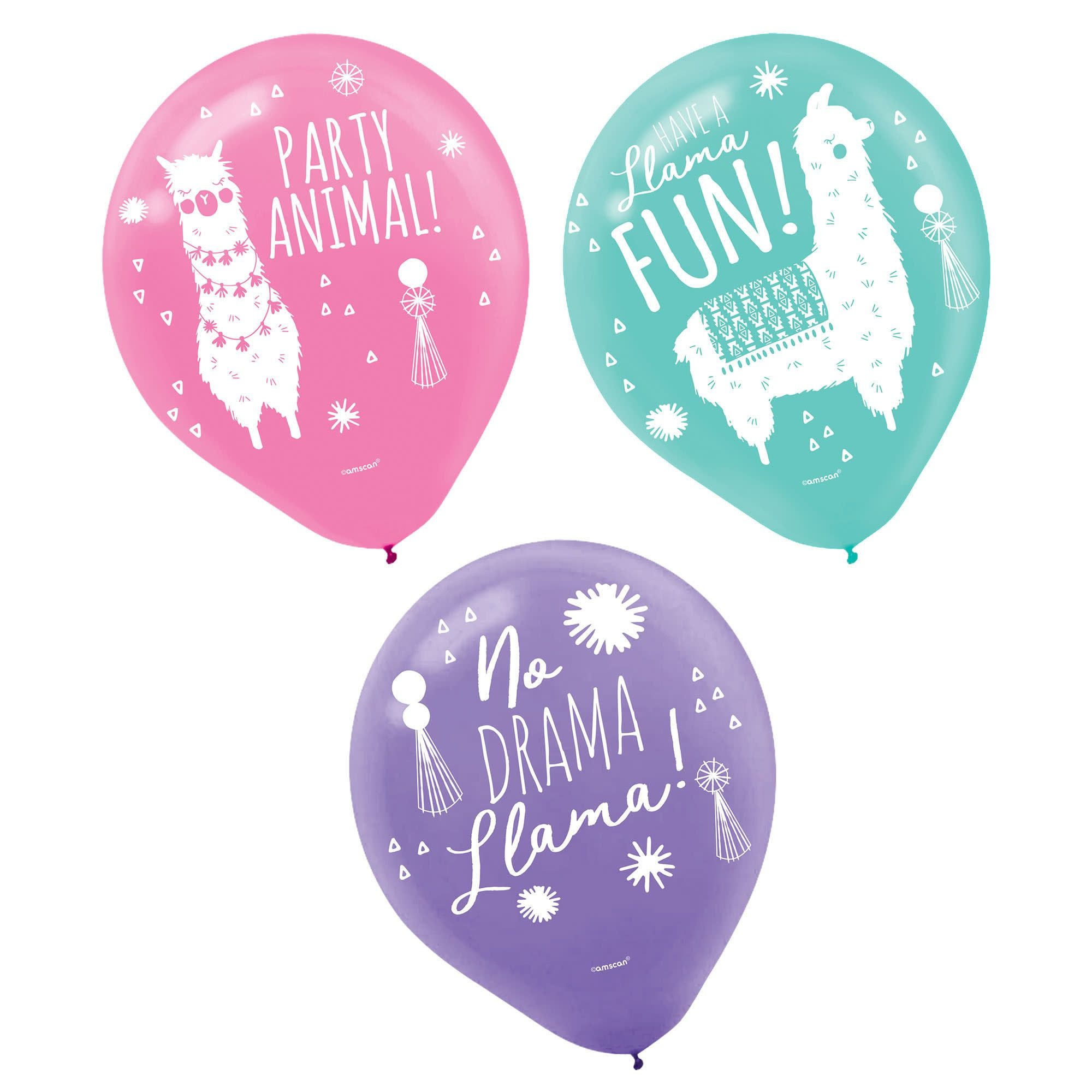 Llama Fun Printed Latex Balloons- 6 Count (Latex Only)