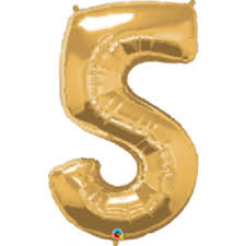 "34"" Light Gold 5 Mylar Number Balloon"