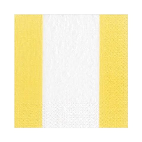 Bandol Stripe Paper Luncheon Napkins in Yellow - 20 Per Package