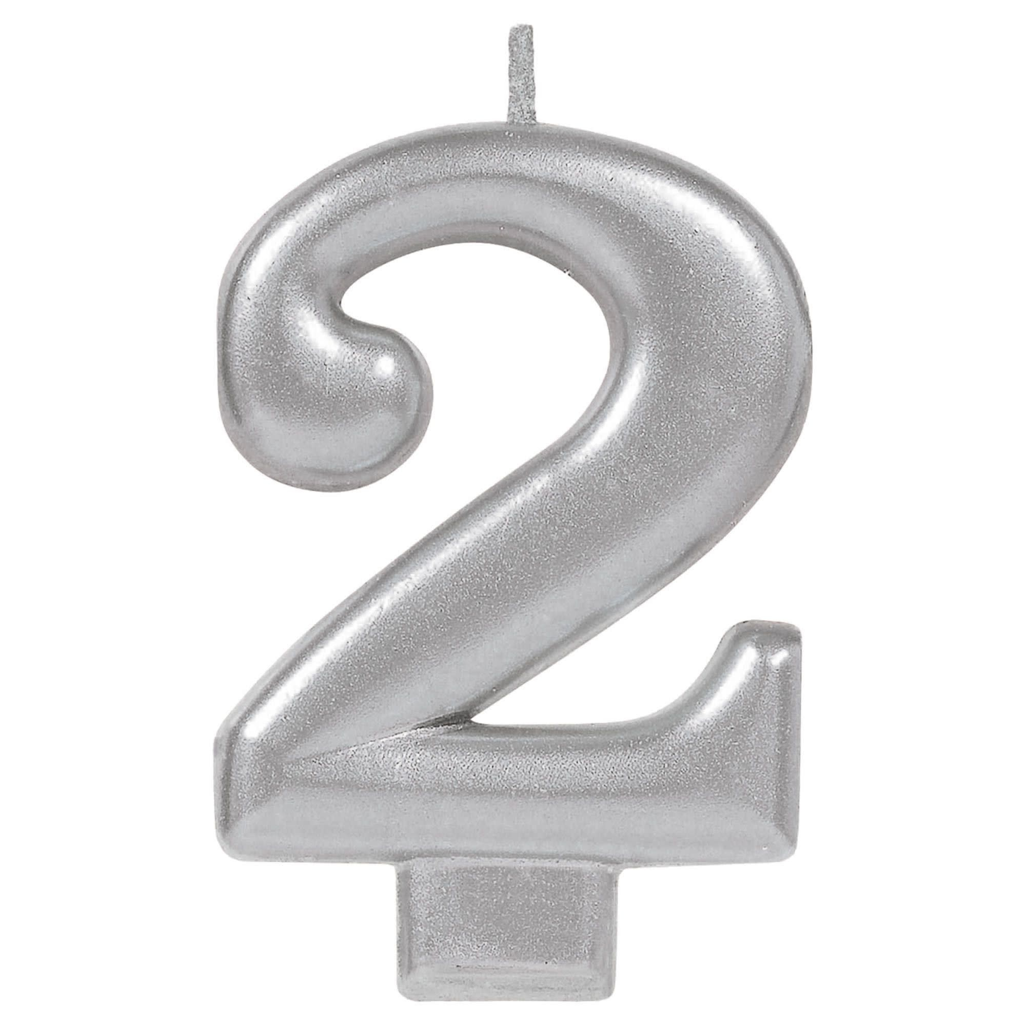 Numeral Metallic Candle #2 - Silver