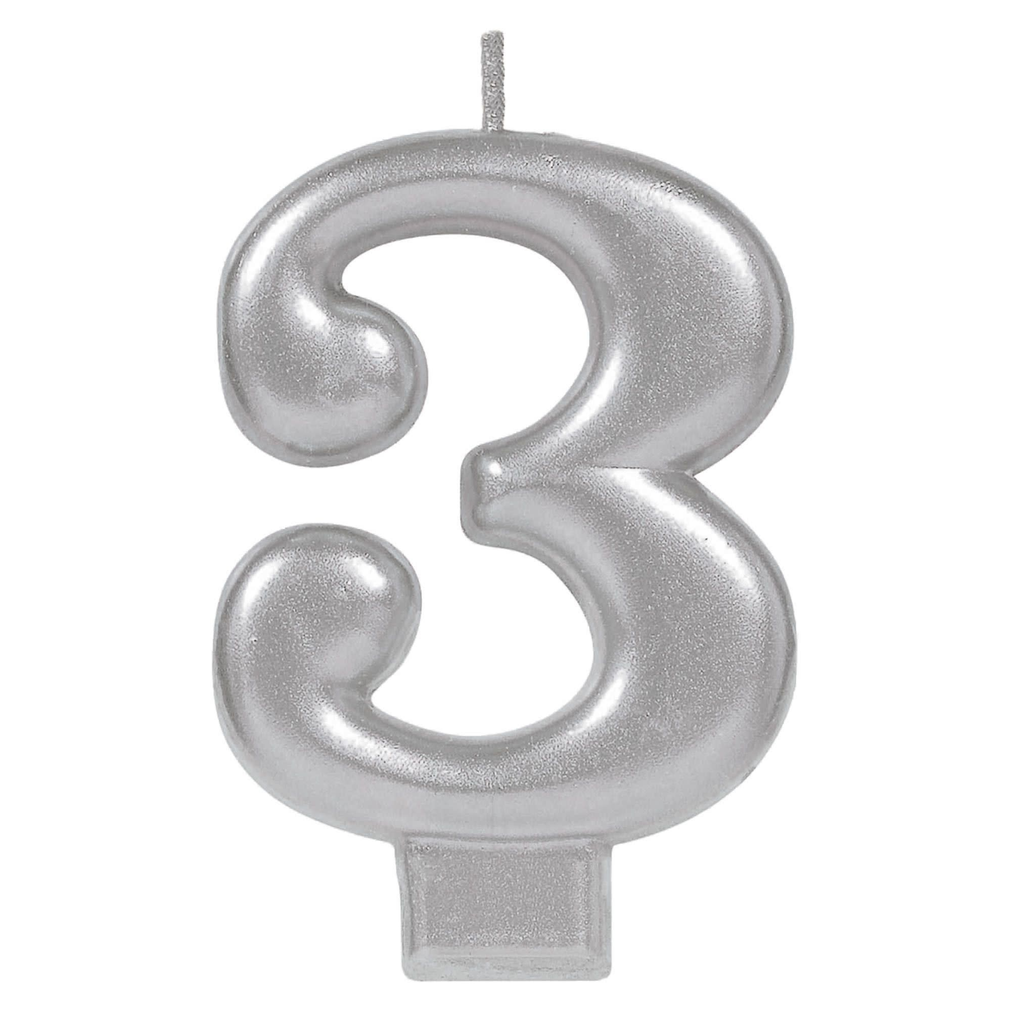 Numeral Metallic Candle #3 - Silver