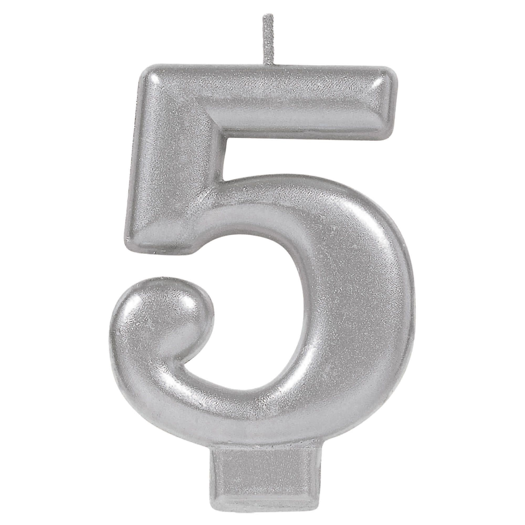 Numeral Metallic Candle #5 - Silver