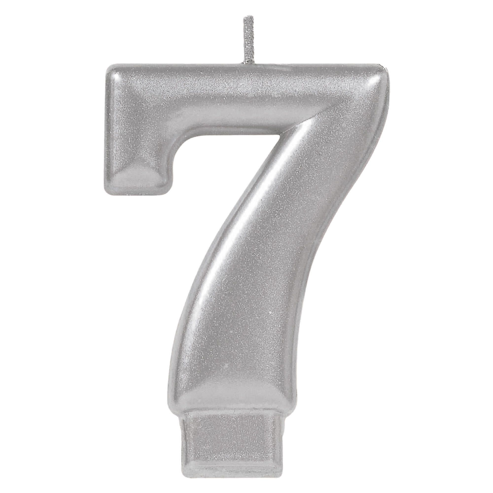 Numeral Metallic Candle #7 - Silver