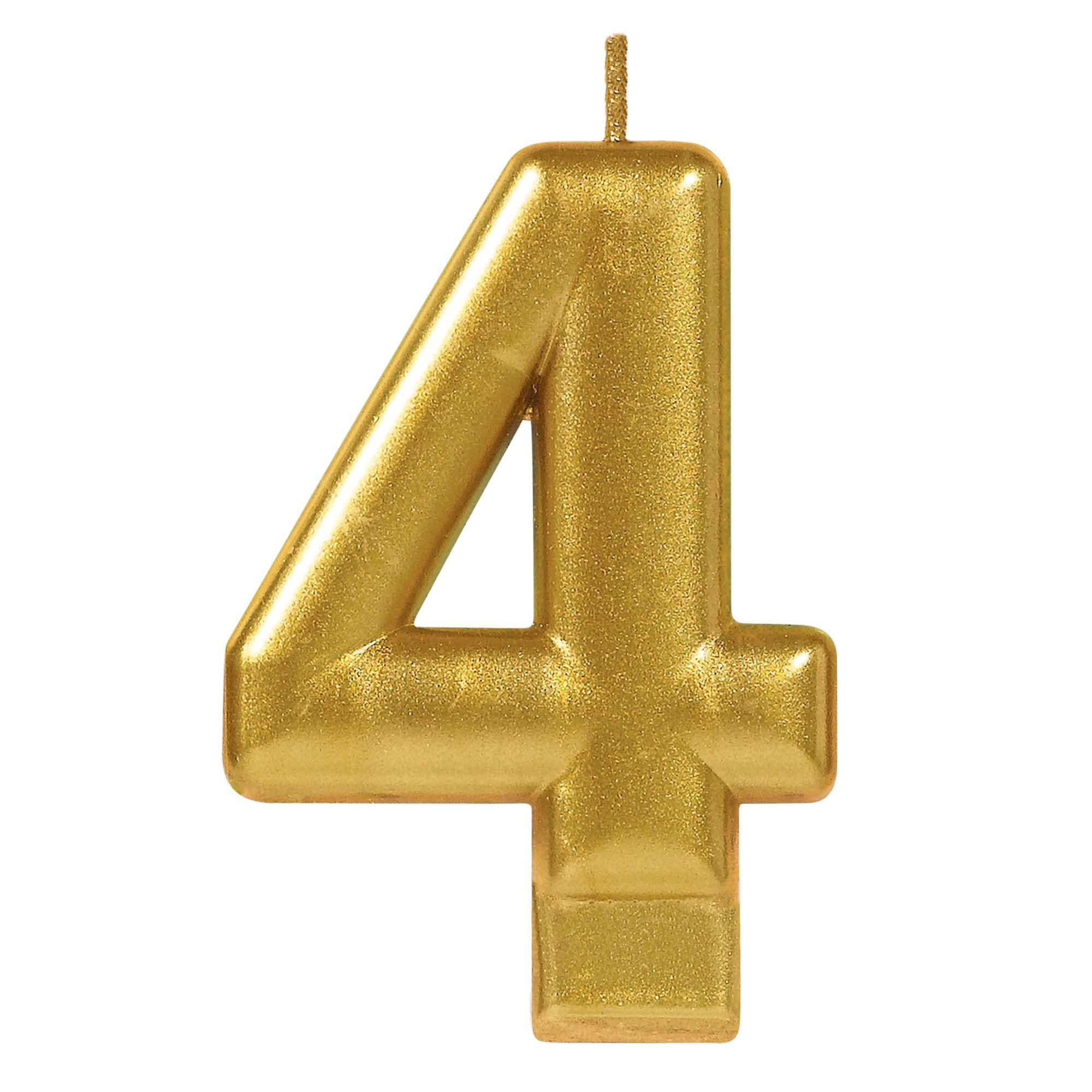 Numeral #4 Metallic Candle - Gold