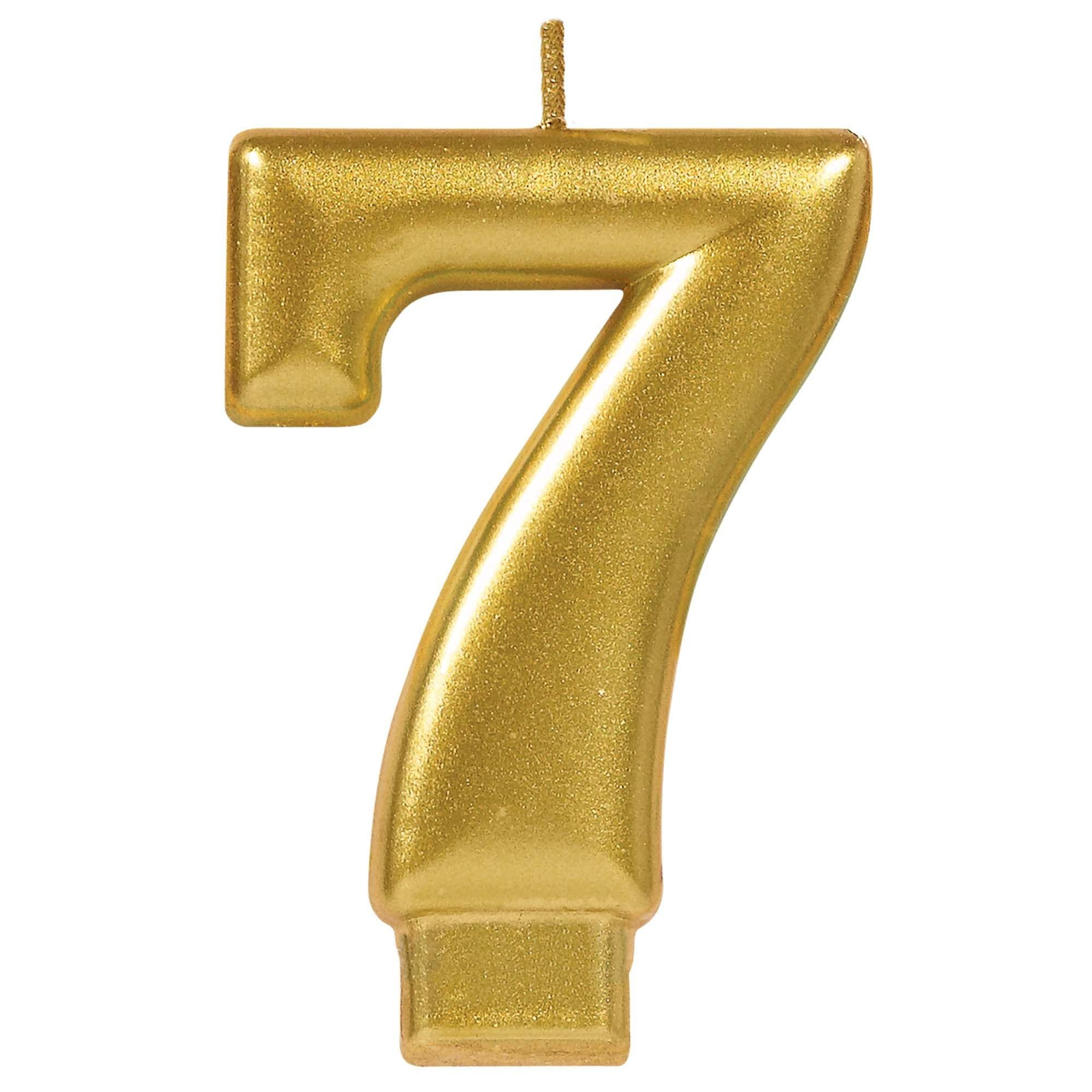 Numeral #7 Metallic Candle - Gold