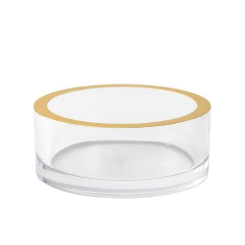 Acrylic Wine Bottle Coaster in Clear with Gold Rim