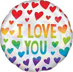 "18"" Irid Rainbow Hearts Holographic"